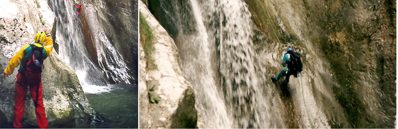 Calata in doppia lungo una delle cascate