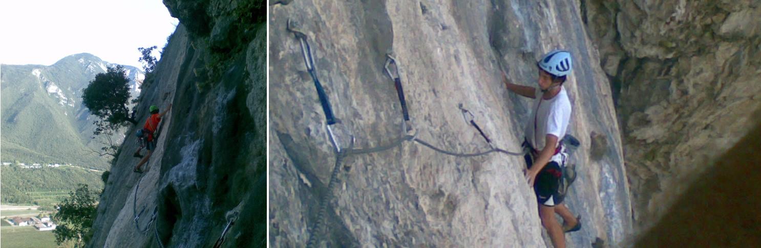 Paolo sul bel traverso ascendente verso sinistra (5c+). Francesco sul medesimo traverso. In apertura non venne utilizzato alcun chiodo ma solo qualche micro-nut volante.