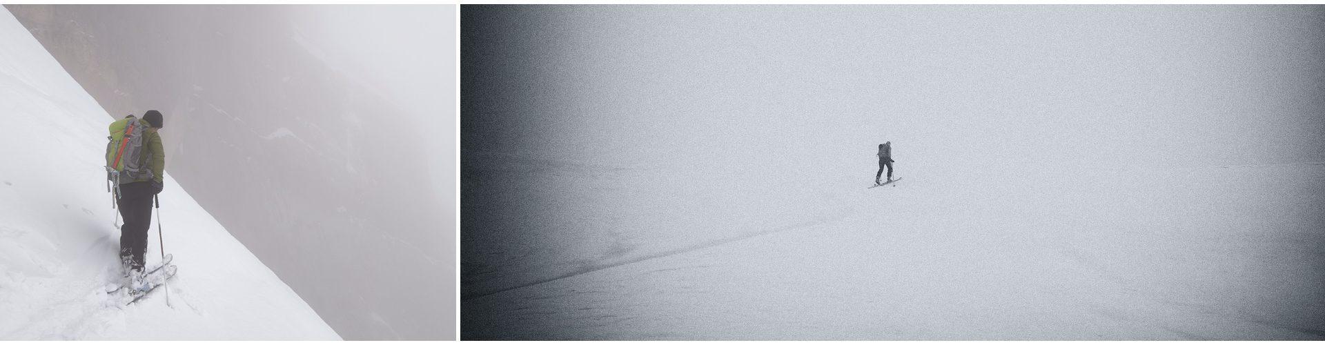 In discesa nella nebbia. Verso la sella.
