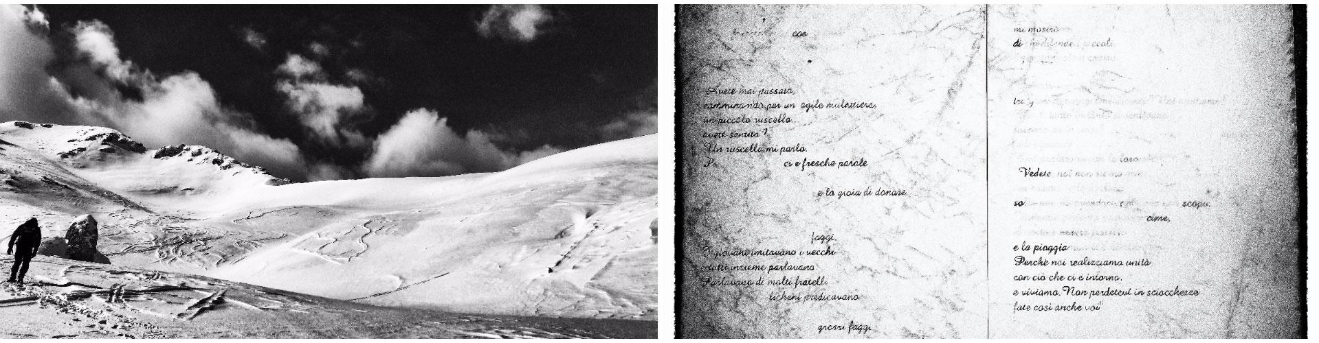 Passo Cavuto, Parco Nazionale d'Abruzzo, Lazio e Molise. Citazione di Claudio Miccoli, rifugio di Forca Resuni, Parco Nazionale d'Abruzzo, Lazio e Molise.