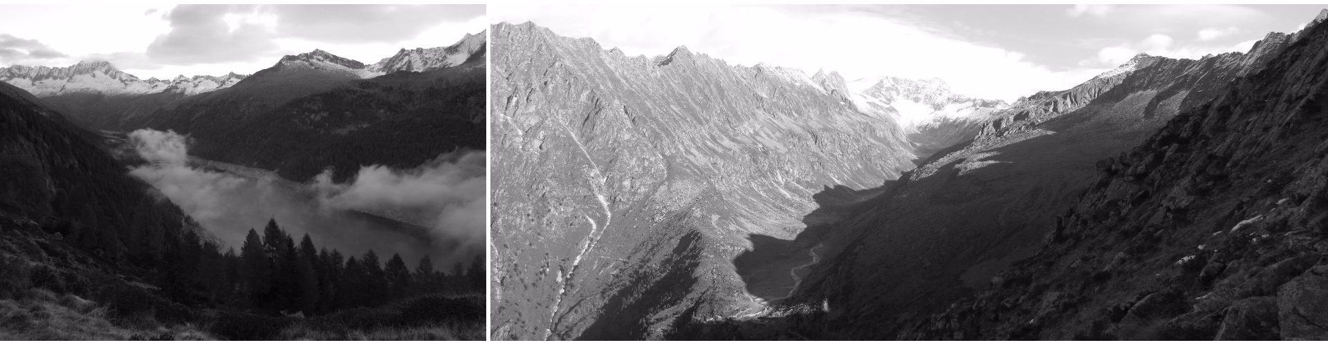 Il lago di Malga Bissina. La Val Adamé vista dal passo Ignaga.