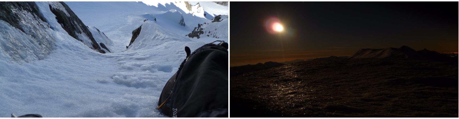 Bellina la goulottina, uscita variante del Canale Nord del Sassofratto. Luna e Cusna dalla cima del Monte La Piella.