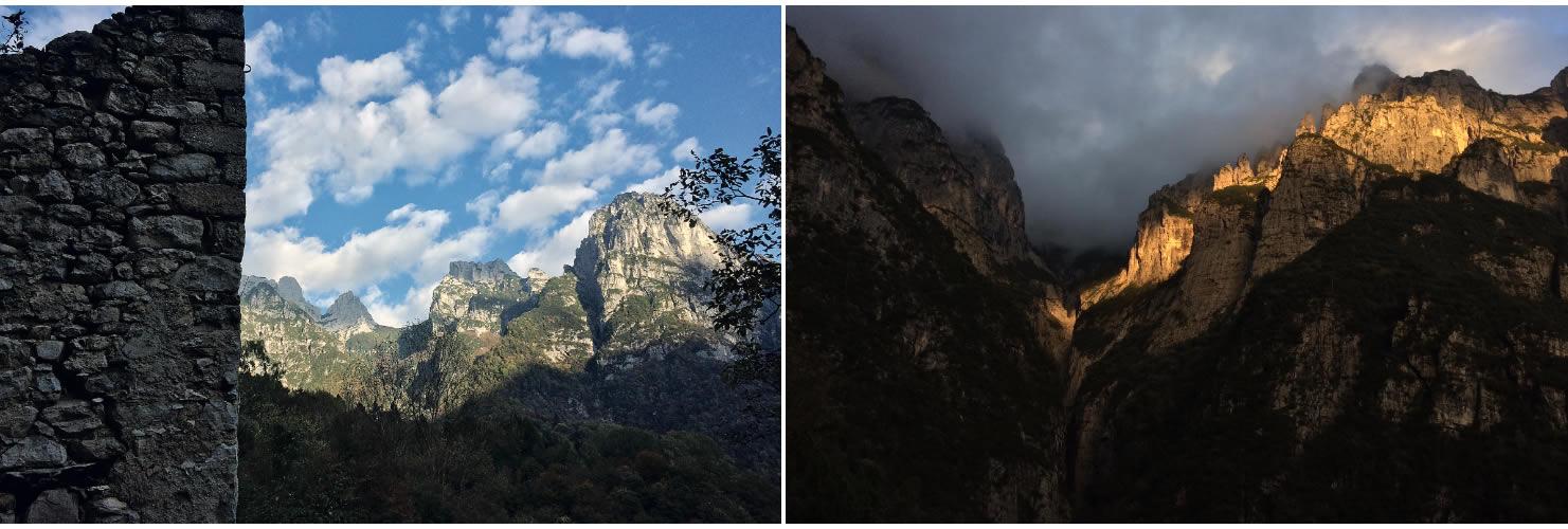 Dal paese abbandonato di Gena Alta verso il Forcelón dele Mughe (Monti del Sole). La Val Ferùch con le Covolère illuminate (Monti del Sole).