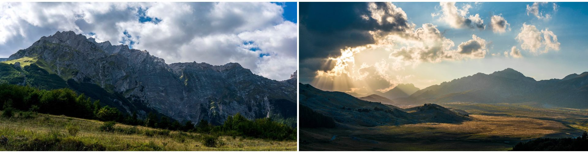 Gran Sasso d'Italia, Monte Camicia, parete Nord. Gran Sasso d'Italia, Monte Camicia dalla piana di Campo Imperatore.