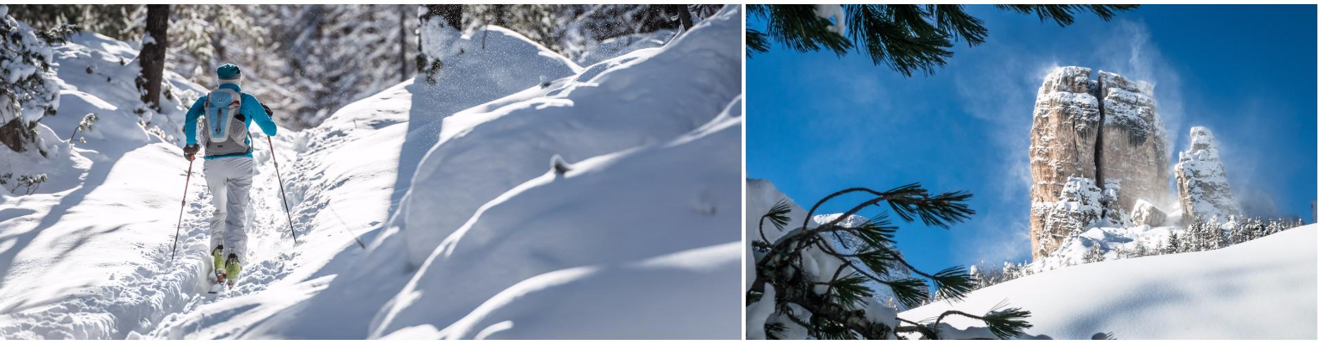 Vento, neve e cielo azzurro in Cinque Torri. Nel bosco salendo in Cinque Torri. (ph. Giuseppe Ghedina)