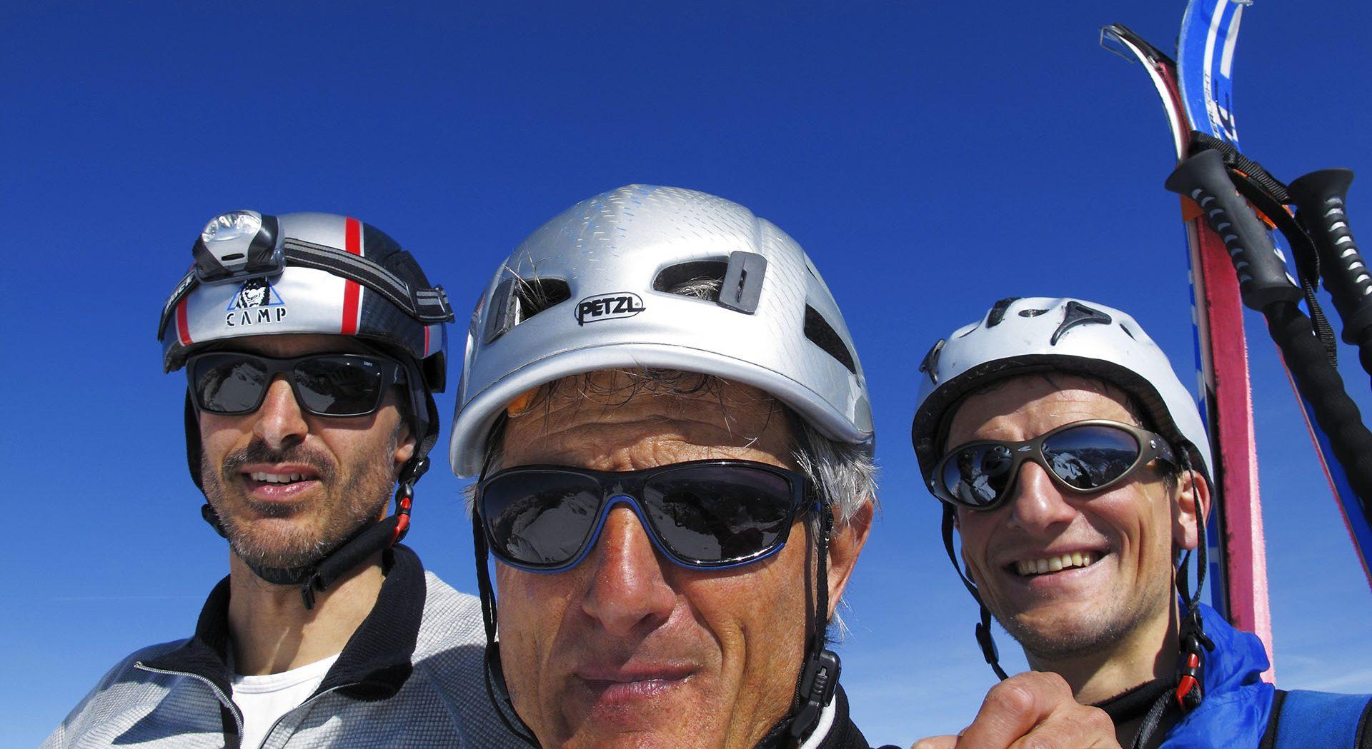 I tre amici protagonisti dell'attraversata (da sx a dx):  Tiziano Da Canal, Loris De Barba e Davide D'Alpaos