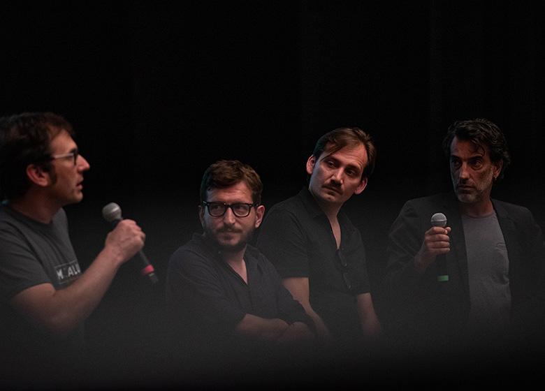 da sx: Christian Cinetto, di Jengafilm e direttore artistico del festival con il regista e i sceneggiatori di Dreamers in Gaza